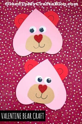 Craft Foam Heart Valentine Bears - Kid Craft