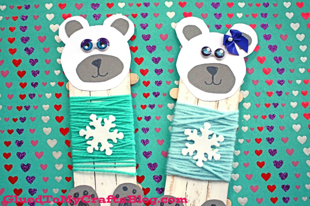 Popsicle Stick Polar Bear In Sweater - Winter Kid Craft Idea
