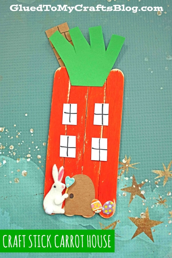 Popsicle Stick Carrot House - Kid Craft For Spring