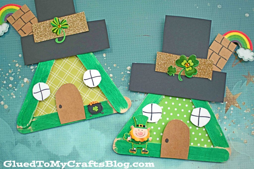 Popsicle Stick Leprechaun House - Kid Craft