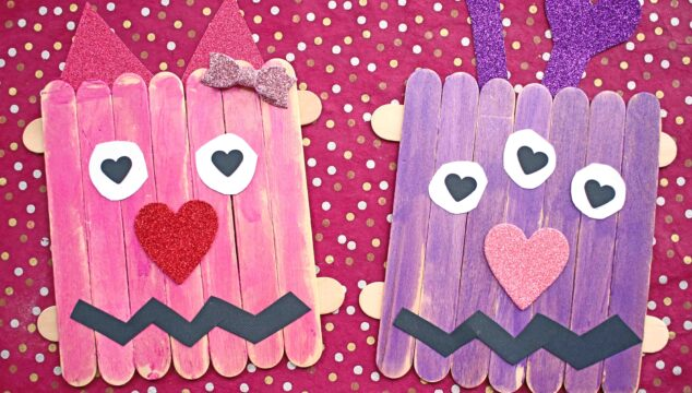 Craft Stick Love Monster - Valentine Kid Craft Idea