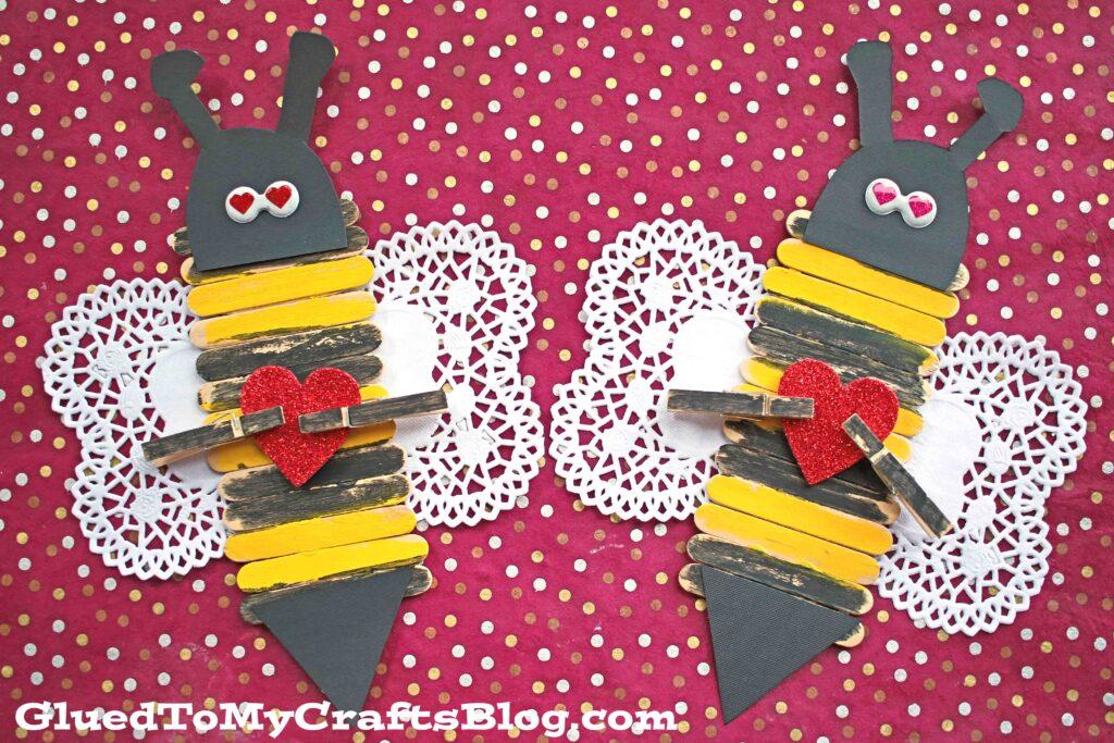 Popsicle Stick Valentine Bee - Kid Craft