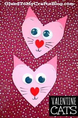 Craft Foam Heart Shaped Valentine Cats - Kid Craft Idea