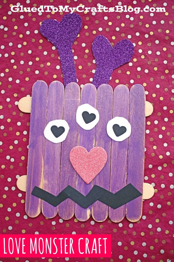 Popsicle Stick Valentine Love Monster Craft For Kids