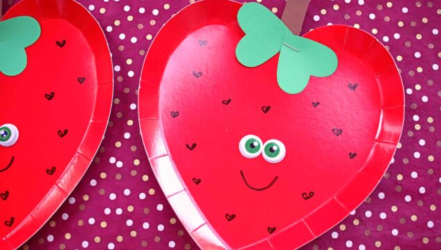 Paper Plate Heart Strawberry - Valentine Kid Craft