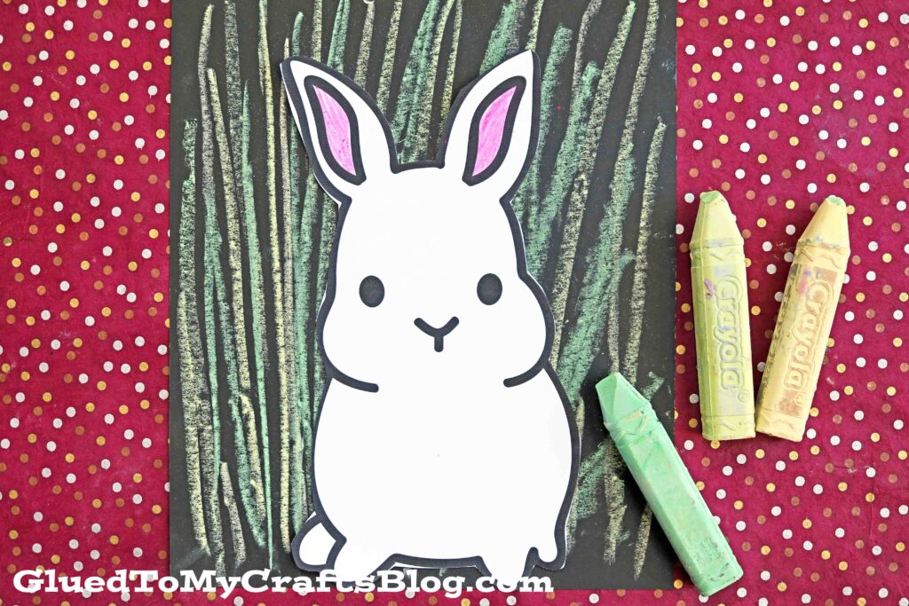 Paper & Chalk Art Easter Bunny In Grass Project For Kids