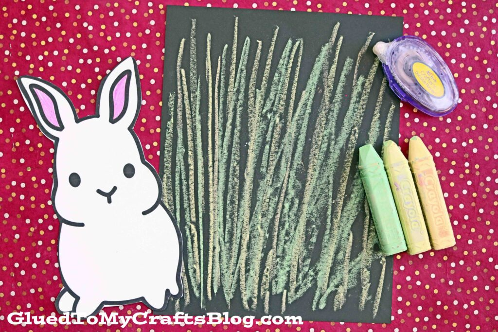 Chalk Art Grass With Bunny Kid Craft Idea