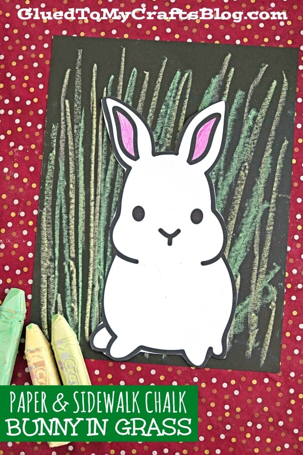 Paper & Chalk Art Bunny In Grass Project For Kids