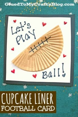 Cupcake Liner Football Card For Kids To Make