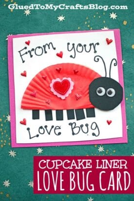 Cupcake Liner Love Bug Card For Kids To Make