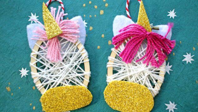 Mini Embroidery Hoop Unicorn Ornaments