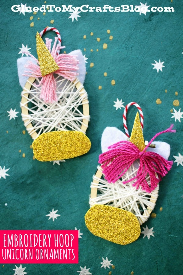 Mini Embroidery Hoop Unicorn Ornaments