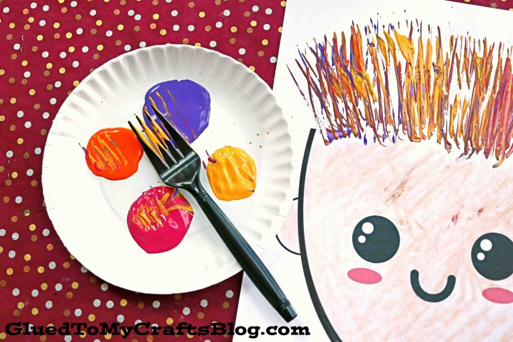 Fork Painted Silly Hair Paper Craft Idea For Kids