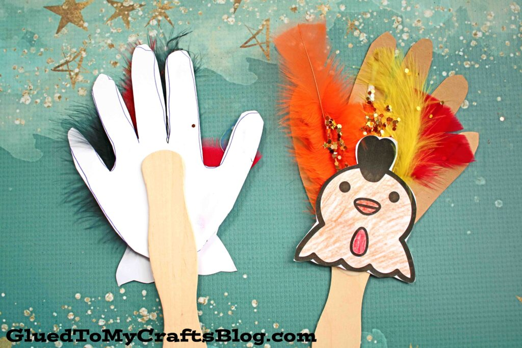 Paper Handprint Chicken Puppet - Kid Craft Idea