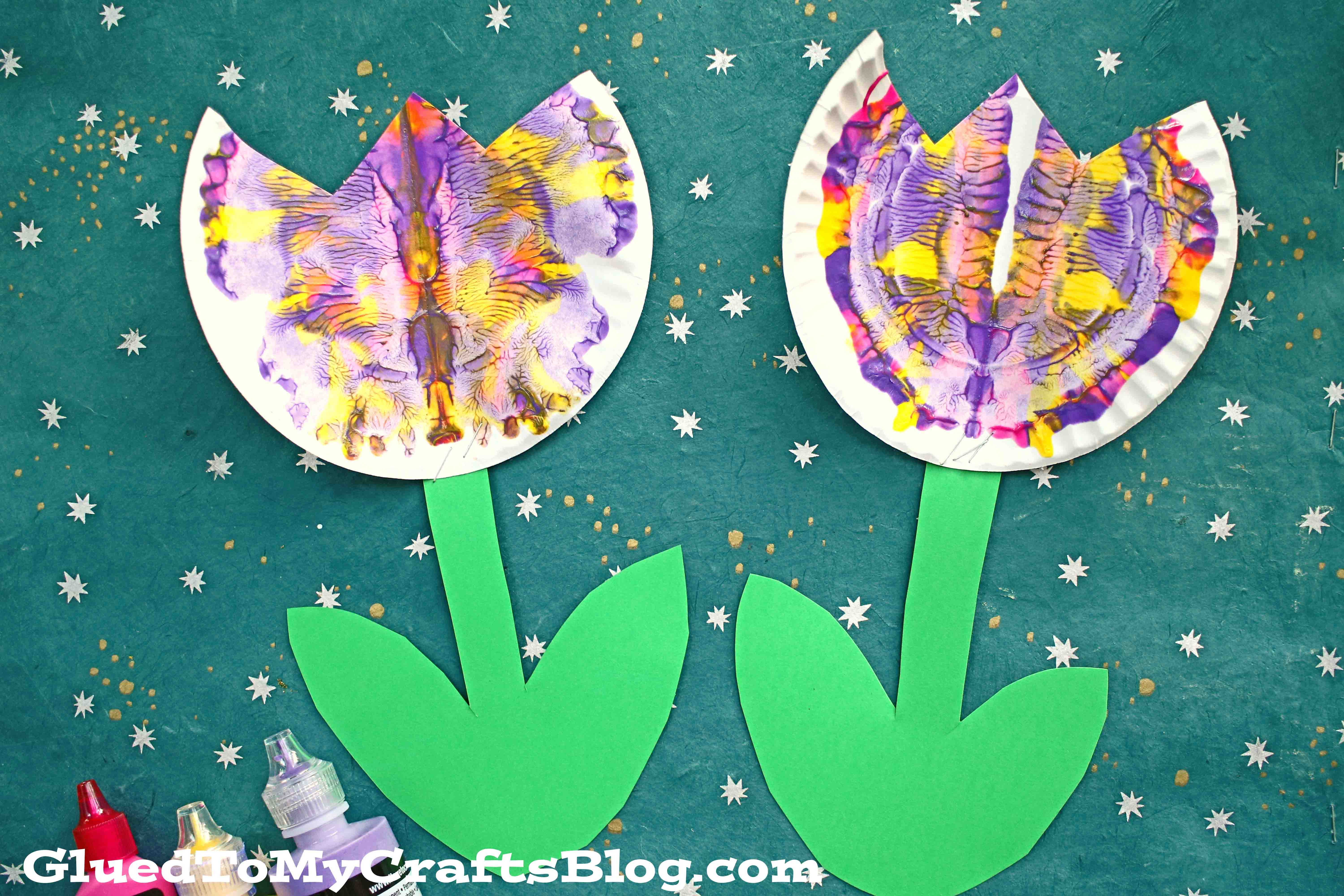 Paper Plate & Paint Splat Tulip - Craft Idea For Spring