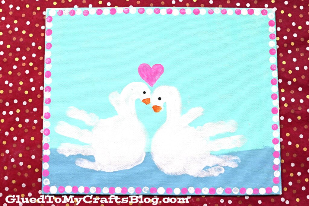 Painted Handprint Swan Keepsake Canvas Idea For Kids