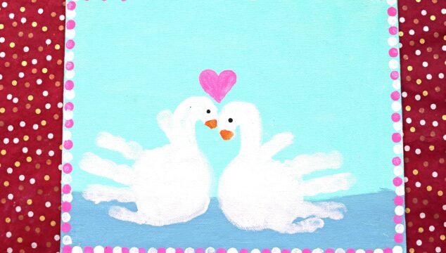 Painted Handprint Swan Keepsake Canvas Idea For Kids