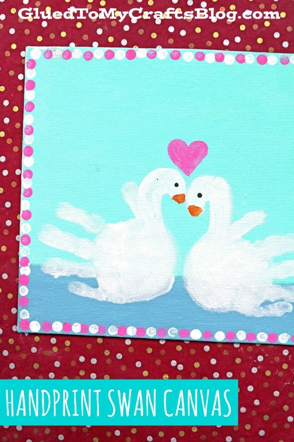 Painted Handprint Swan Keepsake Canvas Idea For Kids To Recreate