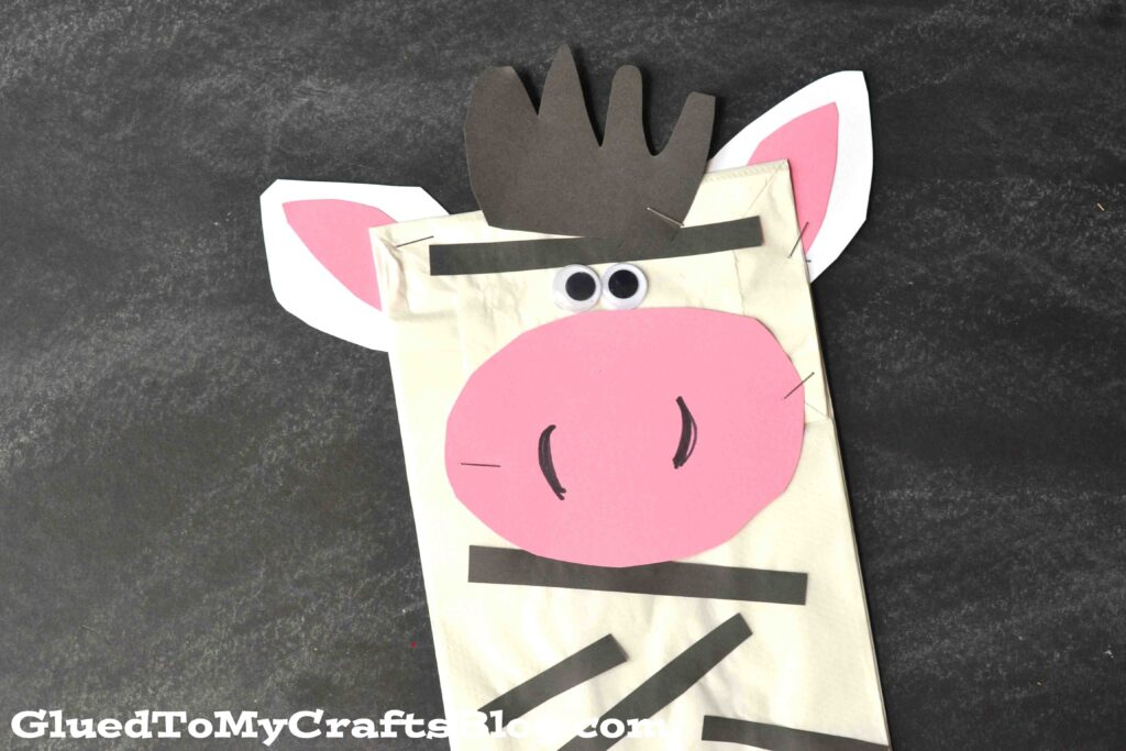 Paper Bag Zebra Puppet - Kid Craft