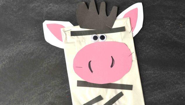 Paper Bag Zebra Puppet - Kid Craft