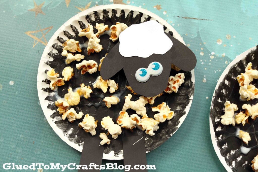Paper Plate and Popcorn Sheep Craft For Kids