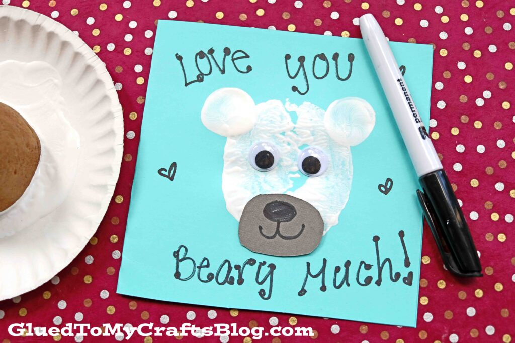Potato Stamped Polar Bear Card Craft For Kids