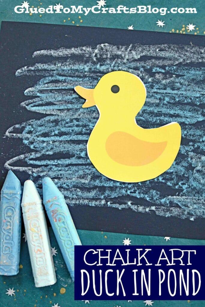 Chalk Art Duck In Pond - Kid Craft Idea