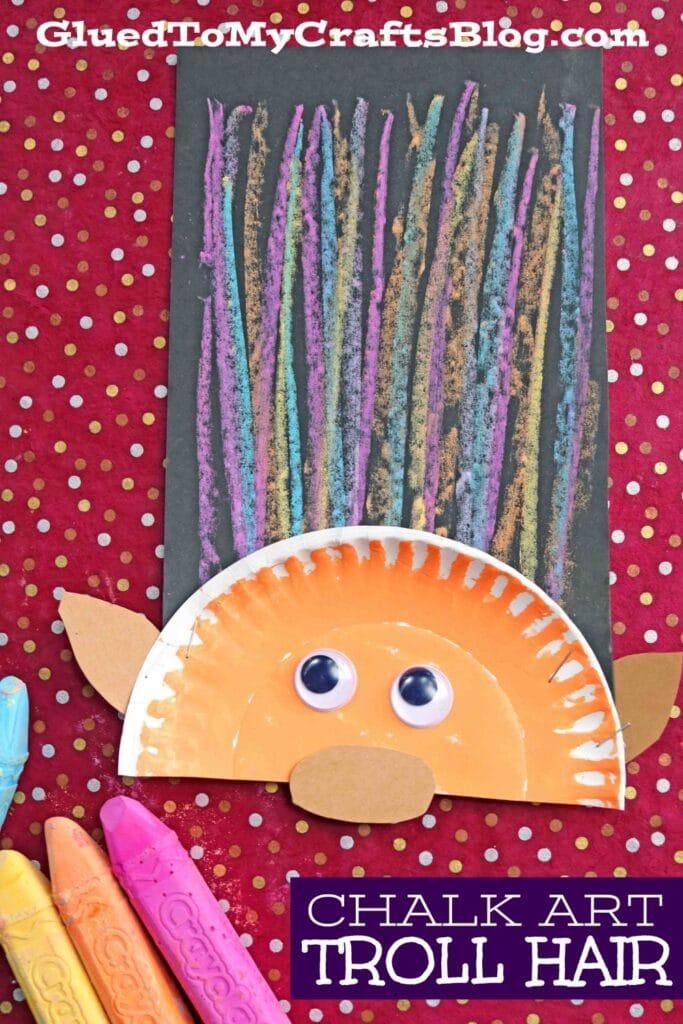 Paper Plate & Chalk Art Troll Hair - Kid Craft Idea