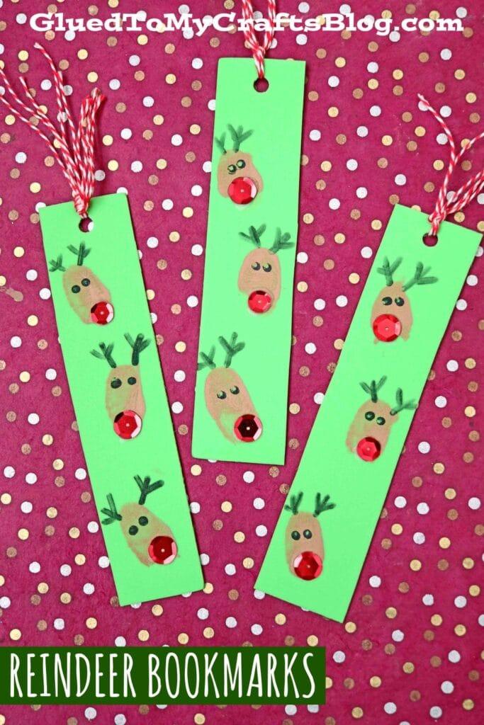 Thumbprint Reindeer Bookmarks Made From Craft Foam