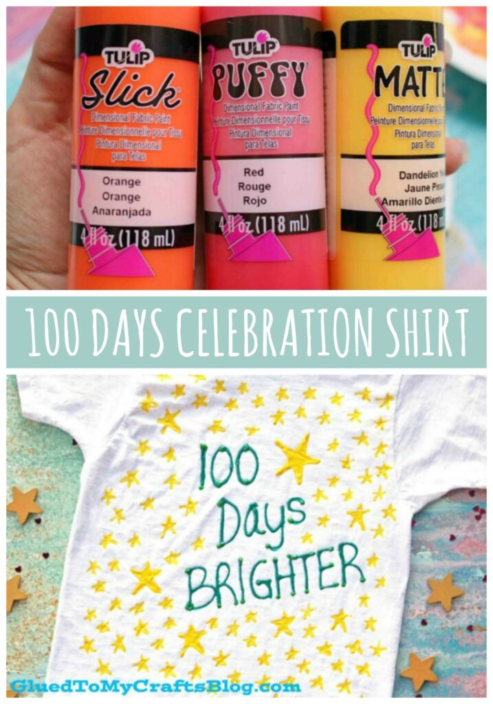 DIY 100 Days Brighter T-Shirt - Craft Idea For Kids