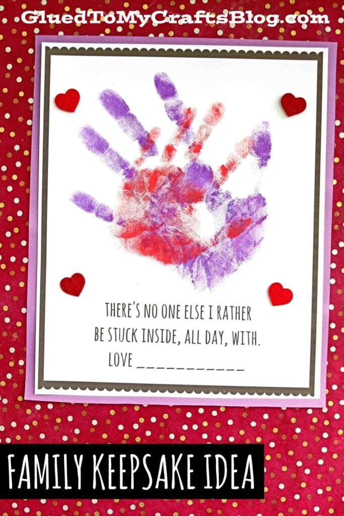Handprint Stuck Inside Keepsake Idea For Families To Make