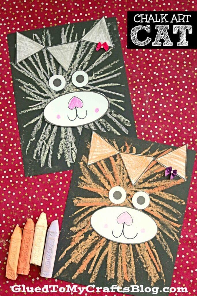 Paper & Chalk Art Kitten Craft For Kids To Recreate