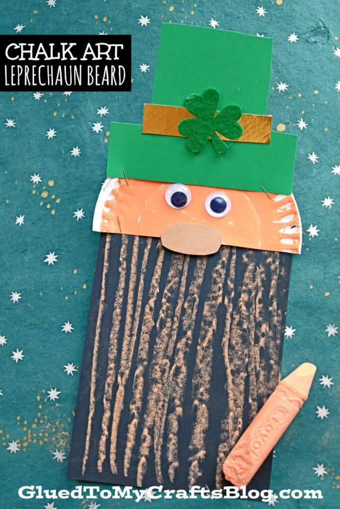 Today's St. Patrick's Day Chalk Art Leprechaun Beard kids craft tutorial is drenched with so much crafty fun for the upcoming green & gold holiday!