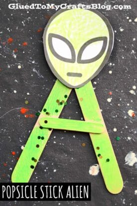 """Popsicle Stick """"A"""" is for Alien - Kid Craft Idea"""