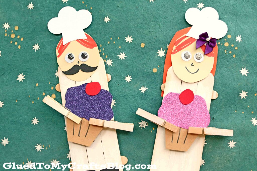 Popsicle Stick Cupcake Baker Puppets - Kid Craft Idea