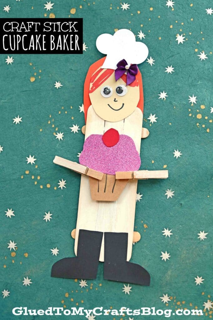 Popsicle Stick Cupcake Baker Puppets - Kid Craft
