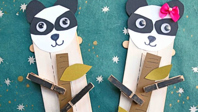 Popsicle Stick Panda Bear Puppet - Kid Craft