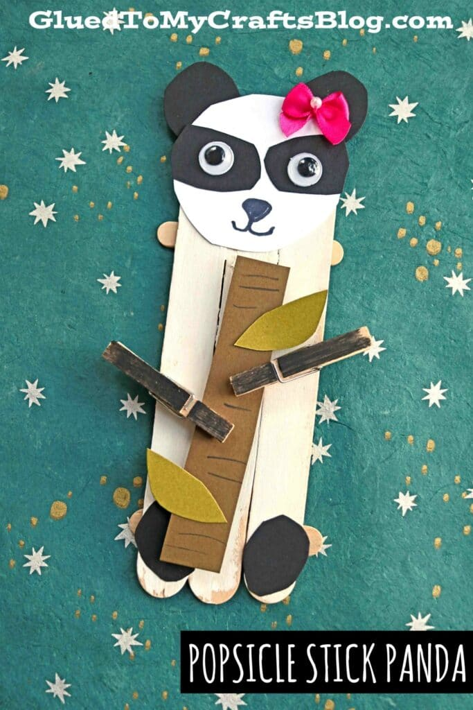 Craft Stick Panda Bear Puppet Craft For Kids To Make
