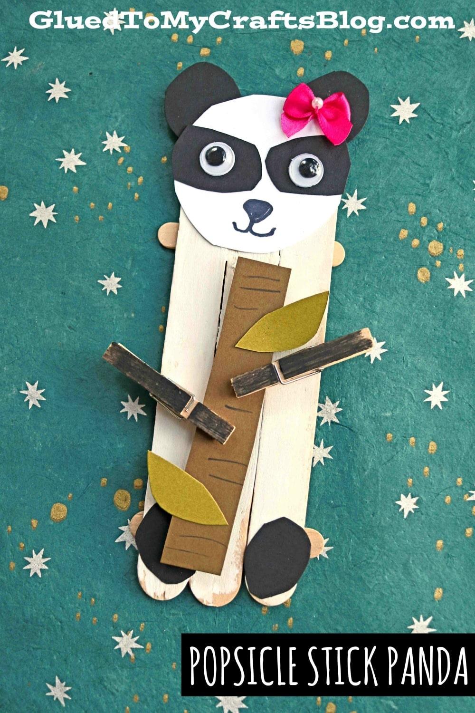 Craft Stick Panda Bear Puppet Craft For Kids To Make
