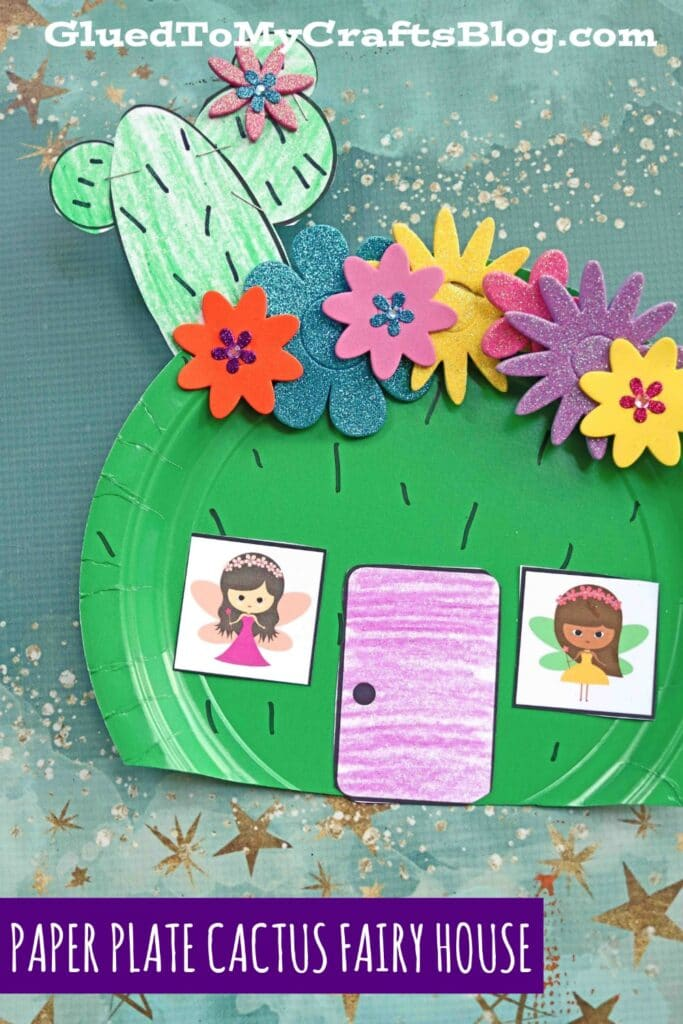 Cactus Fairy House Craft From A Green Paper Plate