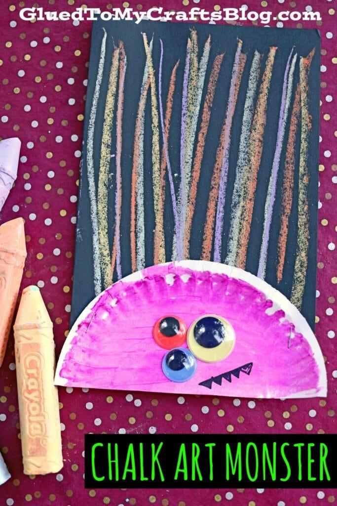 Paper Plate & Chalk Art Monster Hair Craft Idea