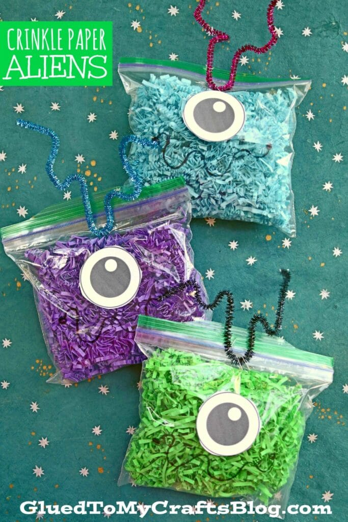 Out of this World Crinkle Paper Alien Craft For Kids!