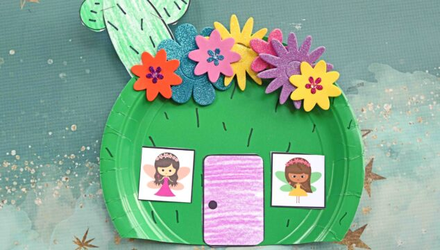 Paper Plate Cactus Fairy House - Kid Craft