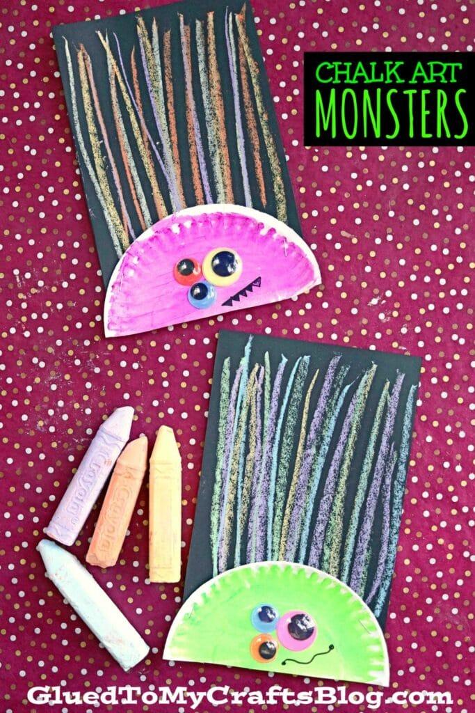 Paper Plate & Chalk Art Monster Craft Idea For Halloween