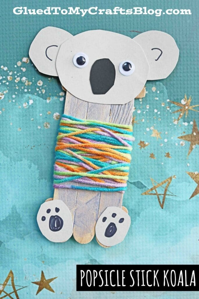 Our popsicle stick koala bear craft tutorial is a quick and easy art project idea that requires very few supplies and steps, all while making a great pretend puppet piece to play with afterwards!