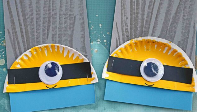 Paper Plate & Chalk Art Minion - Kid Craft