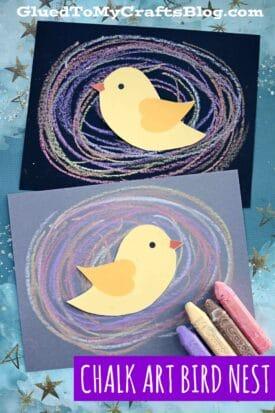Chalk Art Bird Nest - Paper Craft For Kids