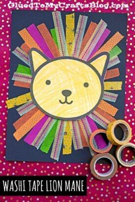 Washi Tape Lion Mane - Kid Craft Idea