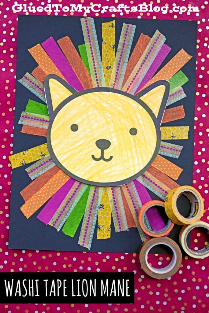 Washi Tape Lion Mane - Kid Craft Idea