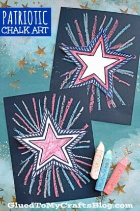 Today on Glued To My Crafts we are sharing this super easy Patriotic Chalk Art craft idea that is perfect to add to your 4th of July plans!